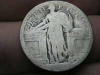 1917 D SILVER STANDING LIBERTY QUARTER, TYPE 1,