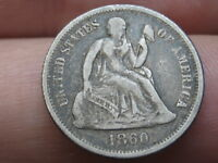 1860 P SEATED LIBERTY SILVER DIME- FINE DETAILS