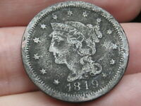 1849 BRAIDED HAIR LARGE CENT PENNY- FINE DETAILS, GREY COLORED