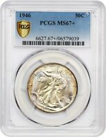 1946 50C PCGS MINT STATE 67 - WALKING LIBERTY HALF DOLLAR - TIED FOR FINEST KNOWN
