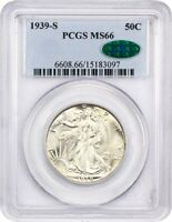 1939-S 50C PCGS/CAC MINT STATE 66 - WALKING LIBERTY HALF DOLLAR