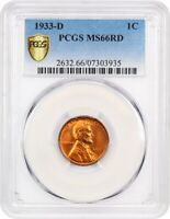 1933-D 1C PCGS MINT STATE 66 RD - LINCOLN CENT