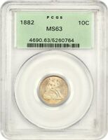 1882 10C PCGS MINT STATE 63 OGH OLD GREEN LABEL HOLDER - SEATED LIBERTY DIME