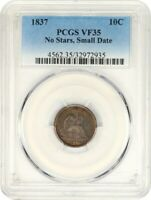 1837 10C PCGS VF35 NO STARS, SMALL DATE SEATED LIBERTY DIME