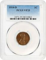 1914-D 1C PCGS VF25 - KEY DATE - LINCOLN CENT - KEY DATE