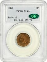 1861 1C PCGS/CAC MINT STATE 64 -  COPPER-NICKEL INDIAN CENT - INDIAN CENT
