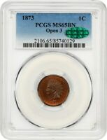 1873 1C PCGS/CAC MINT STATE 65 BN OPEN 3  DATE - INDIAN CENT -  DATE