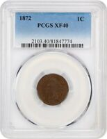1872 1C PCGS EXTRA FINE 40 BN - KEY DATE - INDIAN CENT - KEY DATE