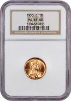1955-D 1C NGC MINT STATE 66 RD - LINCOLN CENT