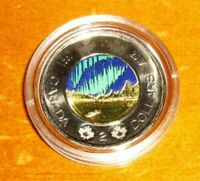 CANADA 150 COLORED 2017 TOONIE $2 TWO DOLLAR GLOW IN THE DARK COLOR COIN
