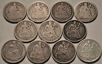 LOT OF  11  SEATED LIBERTY DIMES 1839 O 1853 1857 1859 1877