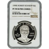 1998 ROBERT KENNEDY NGC PF70 PROOF COMMEMORATIVE SILVER ONE