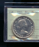 1955 CANADA SILVER DOLLAR ICCS CERTIFIED PROOF LIKE PL65 MP3