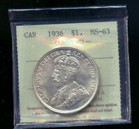 1936 CANADA SILVER DOLLAR ICCS CERTIFIED MS63 MP335