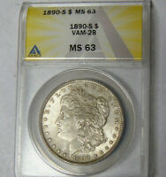 ANACS MINT STATE 63 1890-S MORGAN SILVER DOLLAR CHOICE UNCIRCULATED SAN FRANCISCO VAM-2B