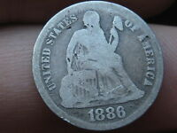 1886-S SEATED LIBERTY DIME- VG DETAILS- LOW MINTAGE KEY DATE