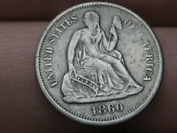 1860 P SEATED LIBERTY SILVER DIME- VF DETAILS