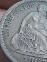 1867-S SEATED LIBERTY DIME- VF DETAILS, LIBERTY BOLD  KEY DATE