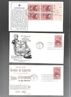 US FDC FIRST DAY COVERS  1097 LAFAYETTE 1957  MASONIC LOT OF