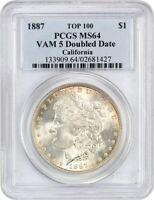 1887 $1 PCGS MINT STATE 64 VAM 5 DOUBLED DATE EX: CALIFORNIA - MORGAN SILVER DOLLAR
