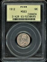 CANADA 1912 10C PCGS MS63 OLD HOLDER