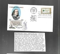 US FDC FIRST DAY COVERS  1140 CREDO FRANKLIN 1960  FLUEGEL O