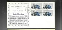 US FDC FIRST DAY COVERS  1180 GETTYSBURG CIVIL WAR BLOCK  NO