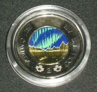 COLOR 2017 GLOW IN THE DARK CANADA 150 TOONIE DANCE OF THE SPIRITS COLORED COIN
