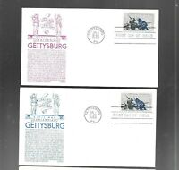 US FDC FIRST DAY COVERS  1180 GETTYSBURG CIVIL WAR 1963 BY A