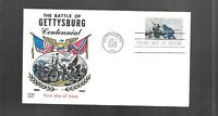 US FDC FIRST DAY COVERS  1180 GETTYSBURG CIVIL WAR 1963  FLU