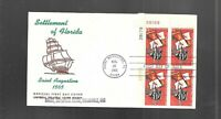 US FDC FIRST DAY COVERS  1271 FLORIDA 1965  WITH PLATE BLOCK
