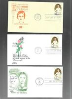 US FDC FIRST DAY COVERS  1436 EMILY DICKINSON 1971 LOT OF 9