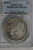 1888 O $1 PCGS  VF35, DOUBLE DIE OBVERSE MORGAN SILVER DOLLAR,