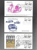 US FDC FIRST DAY COVER  2262 RACING CAR 1987  LOT OF 9  MANY