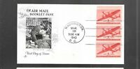 US FDC  FIRST DAY COVER   C25A AIR MAIL BOOKLET PANE 1943  A