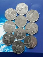 RARE 50P OLYMPIC COIN JOB LOT BUNDLE X 10 ALL IN GOOD CONDIT