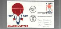 US FDC  FIRST DAY COVER   C54 AIR MAIL JUPITER BALLOON  1959