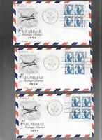 US FDC  FIRST DAY COVER  C48 AIR MAIL 1954 SET OF 4 PLATE BL