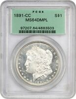 1891-CC $1 PCGS MINT STATE 64 DMPL - MORGAN SILVER DOLLAR - OLD GREEN LABEL HOLDER