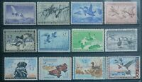 USED 1950 62    12  DIFFERENT $2 & $3 DUCK STAMPS RW17 RW29