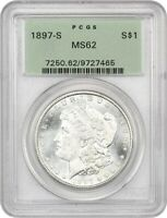 1897-S $1 PCGS MINT STATE 62 OGH - OLD GREEN LABEL HOLDER - MORGAN SILVER DOLLAR