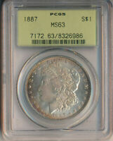 1887 MORGAN SILVER DOLLAR PCGS CERTIFIED MINT STATE 63 SHIPS FREE