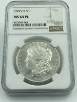 1885-O NGC MINT STATE 64PL MORGAN SILVER DOLLAR BLAST WHITE COIN