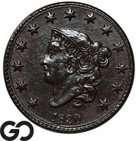 1830 LARGE CENT CORONET HEAD AU DEALER BID: $300 SCARCE EARL