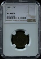 1851 1/2C C 1 NGC MS 61 BN 1851 BRAIDED HAIR HALF CENT