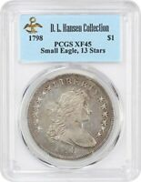 1798 SMALL EAGLE $1 PCGS EXTRA FINE 45 13 STARS OBVERSE EX: D.L. HANSEN - CHOICE EXTRA FINE