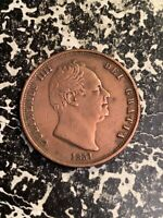 1831 GREAT BRITAIN 1/2 HALF PENNY LOTZ2400 LOW MINTAGE  CLEANED