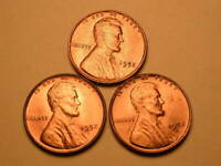 1952 P-D-S  CH/GEM BU UNCIRCULATED CHERRY RED LINCOLN CENT  SET OF 3  GROUP36