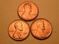 1952 P-D-S  CH/GEM BU UNCIRCULATED CHERRY RED LINCOLN CENT  SET OF 3  GROUP38
