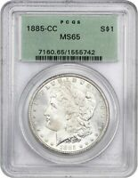1885-CC $1 PCGS MINT STATE 65 OGH OLD GREEN LABEL HOLDER - MORGAN SILVER DOLLAR